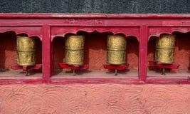 Buddhist Tibetian prayer wheels royalty free stock photo