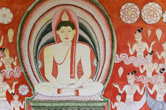 Buddhist Wall Painting at Golden Temple, Sri Lanka royalty free stock photo