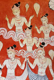 Buddhist Wall Painting at Golden Temple, Sri Lanka Royalty Free Stock Photography