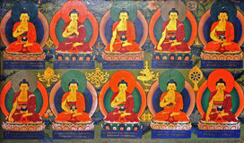 Buddhist wall painting in monastery Stock Image