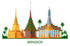 Buddhist wat temple in Bangkok Thailand. Buddhist wat temple in Bangkok Grand Palace Thailand travel landmark vector illustration Royalty Free Stock Image