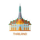 Buddhist wat temple in Bangkok Thailand. Travel landmark vector illustration Royalty Free Stock Photography