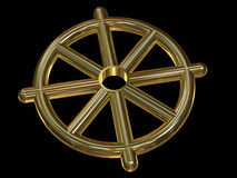 Buddhist Wheel Symbol (Dharmachakra). Made of gold on black background. 3d illustration Stock Images