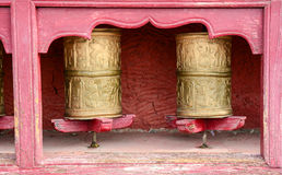 Buddhist wheels at the Tibetan temple in Ladakh, India Royalty Free Stock Image