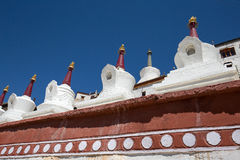 Buddhist white stupa and blue sky . Thiksey Monastery,  Leh , Ladakh, India Royalty Free Stock Photo