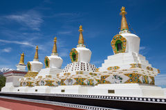 Buddhist white stupa and blue sky . Thiksey Monastery,  Leh , Ladakh, India Stock Photo