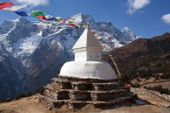 Buddhist stupa above Namche Bazaar, Nepal Himalaya Royalty Free Stock Images