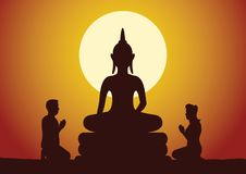Buddhist woman and man pay respect to Buddha sculpture politely with faith and believe. Silhouette style  illustration Royalty Free Stock Image