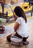 Buddhist woman praying on eve Stock Image