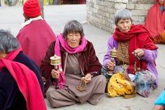 Buddhist women at the Memorial Chorten, Thimphu, Bhutan. Royalty Free Stock Photo