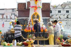 Buddhist worshiping and making religious merit Royalty Free Stock Image