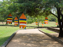 Buddhistic flags. On the trees. Sri Lanka Royalty Free Stock Photo