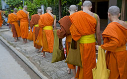 Buddhistic monks in Luang Prabang, Laos Stock Photography
