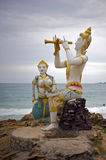 Buddhistic statues at the beach Royalty Free Stock Photo
