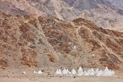 Buddhistic stupas (chorten) in the Himalayas Stock Image