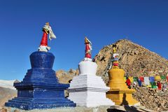 Buddhistic stupas (chorten) in the Himalayas Royalty Free Stock Image