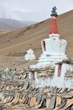 Buddhistic stupas (chorten) in the Himalayas Stock Photo