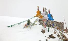 Buddhistic stupas (chorten) in the Himalayas Stock Photos