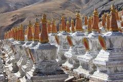 Buddhistic stupas in Tibet Stock Photo