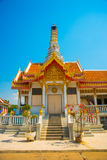 Buddhistic temple.Beautiful religious building is white with gilding. Ayutthaya. Thailand. Stock Photo