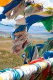 Buddhistische Gebetmarkierungsfahnen auf Gebirgsdurchlauf Lizenzfreies Stockfoto