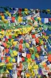 Buddhistische Gebetsflaggen in Dharamshala, Indien lizenzfreie stockbilder