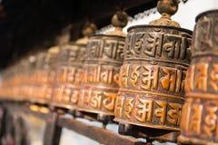 Buddhistische Gebetsräder am Affe-Tempel in Nepal Lizenzfreie Stockbilder