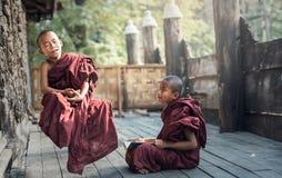 Buddhistischer Anfänger im Tempel stockfotos