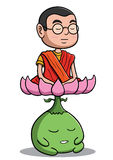 Buddhistischer Mönch, der mit Lotosgeschöpf meditiert Stockfotos