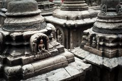 Buddhistischer Schrein Swayambhunath Stupa. Nepal Lizenzfreies Stockfoto