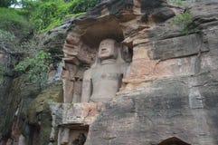 Buddhistischer Tempel in den Höhlen nahe Gwalior Lizenzfreies Stockfoto