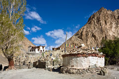 Buddhistisches Kloster an Markha-Wanderung, Markha-Tal, Ladakh, Indien Stockfotos
