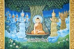 Buddhistisches Wandbild im shwedagon paya Yangon Myanmar lizenzfreie stockfotos