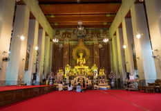 Buddhists in the church of Buddhism temple Royalty Free Stock Images