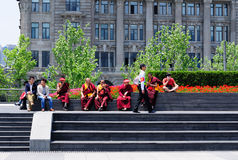 Buddhists Monks on the Bund in Shanghai Stock Photos