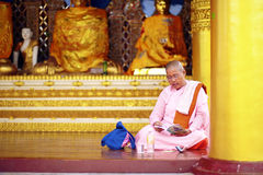 Buddhists pilgrimage at golden Shwedagon Paya, Myanmar Royalty Free Stock Images