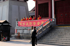 Buddhists Praying in Shanghai China Temple Stock Image