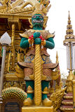 Buddhistsm giant the guardian of the temple. Big green skin giant statue the guardian of the golden temple Stock Photo