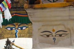 Buddhust stupa and buddha eyes stock photos