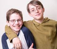 Buddies. Two happy middle school friends, pals, buddies. BFFs Royalty Free Stock Image