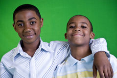 Buddies for Life. Two young African American boys who appear to be friends or brothers Royalty Free Stock Image