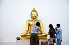 Buddisht Praying golden buddha Royalty Free Stock Image