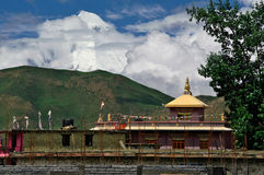 Buddism in Himalaya. Monastery in the Lower Mustang, Nepal. Dhalaugiri peak on the horizon Stock Image