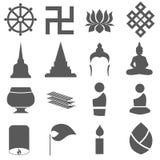 Buddism icon set. Asian buddism sign icon set Royalty Free Stock Images