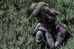 Buddism och natur Hög-kontrast bild av traditionell Buddha s royaltyfri bild