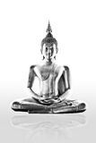 Buddism statue Isolated. Black and white Buddism Statue Isolated royalty free stock photography