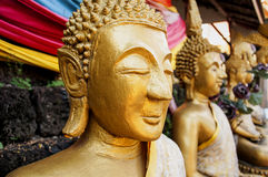 Buddism Statues in Laos public temple Stock Image