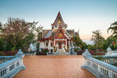 Buddism temple at Doi Mae Salong at sunset, Thailand. Royalty Free Stock Photos