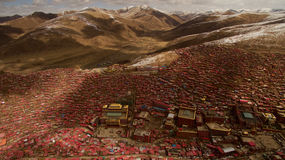 Buddisminstitut i Tibet Royaltyfria Foton