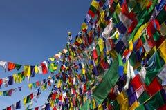 Buddismo, bandiere di preghiera Fotografia Stock Libera da Diritti